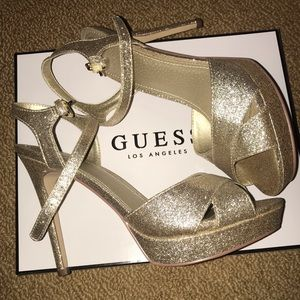 Brand New Guess Sparkle Gold High Heels